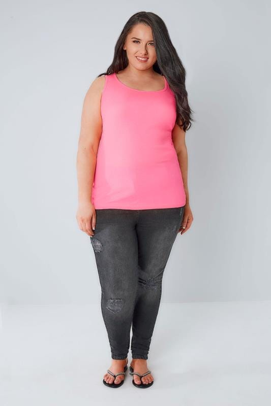 Neon Pink Scooped Neck Vest Top