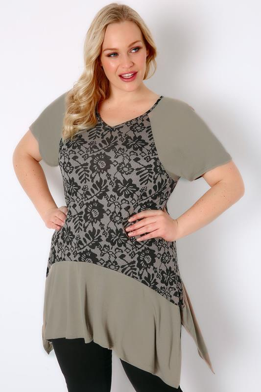 Nude & Black Floral Lace Panel Jersey Top With Hanky Hem