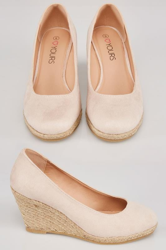 Wide Fit Wedges Nude COMFORT INSOLE Closed Toe Espadrille Wedges In TRUE EEE Fit