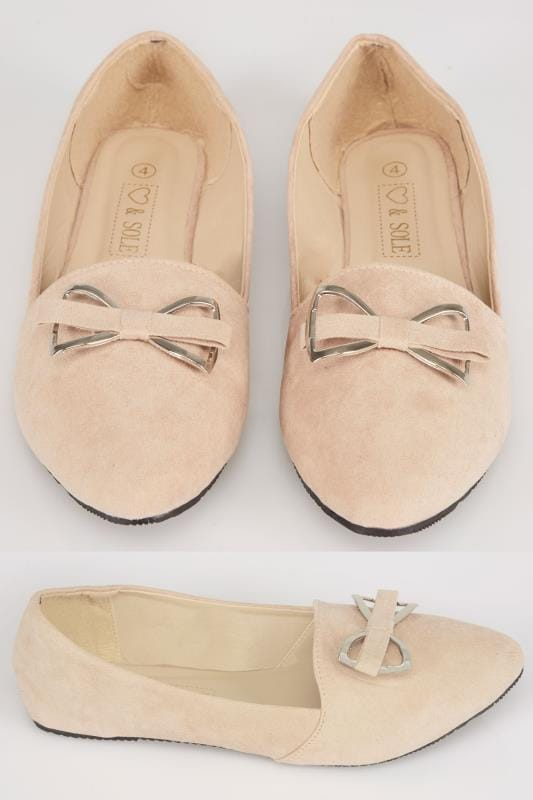 Wide Fit Flat Shoes Nude COMFORT INSOLE Faux Suede Ballerina Pump With Metal Bow In E Fit 101692