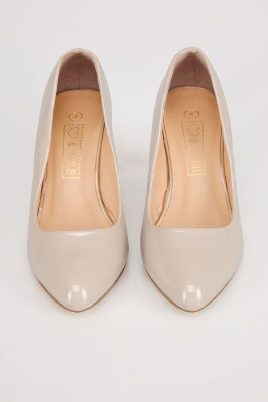 Nude COMFORT INSOLE Patent Court Shoe In E Fit