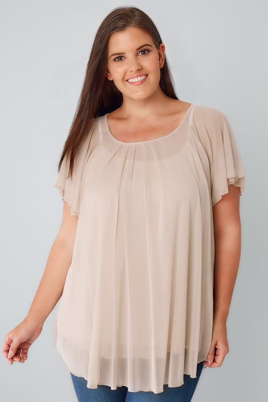 Nude Double Layered Mesh Lightweight Blouse With Angel Sleeves