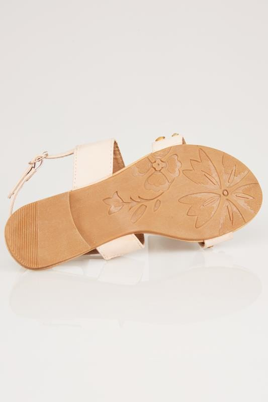Nude Double Strap Sandals With Pearl Trim In TRUE EEE Fit