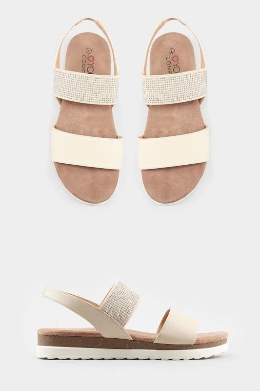 Nude Embellished Elasticated Sandals
