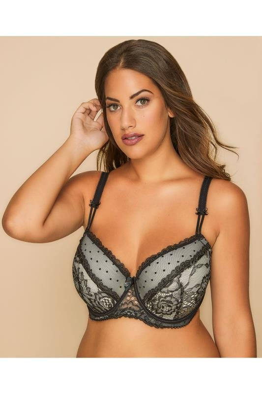 Plus Size Bras Wired Black & Gold Lace Overlay Underwired Padded Bra