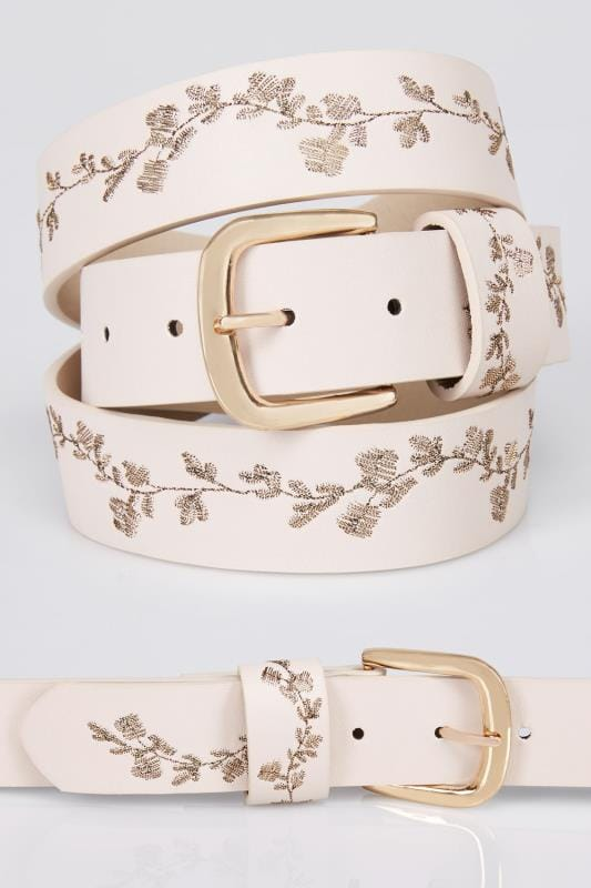 Plus Size Belts Nude & Gold Floral Embroidered Belt
