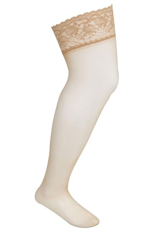Nude Hold-Ups With Lace Trim