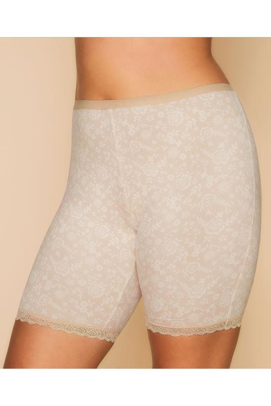 Cuisses amincissantes Nude Lace Print Thigh Smoothers With Lace Hem 056104
