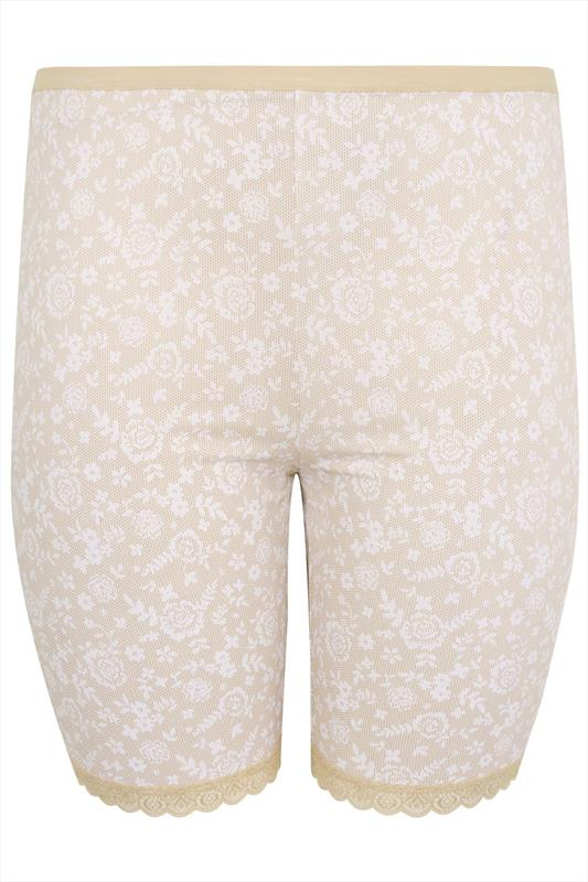 Nude Lace Print Thigh Smoothers With Lace Hem