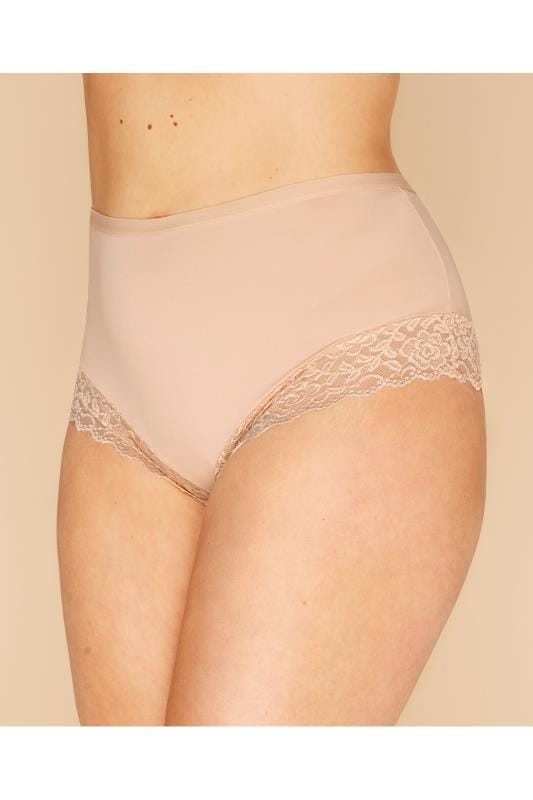 Plus Size Briefs Nude Lace Trim Briefs