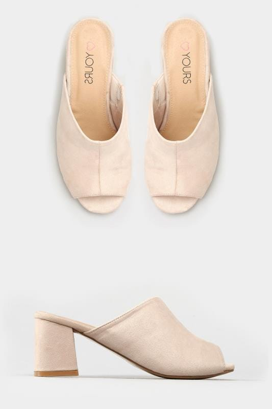 Nude Mule Heeled Sandals In EEE Fit