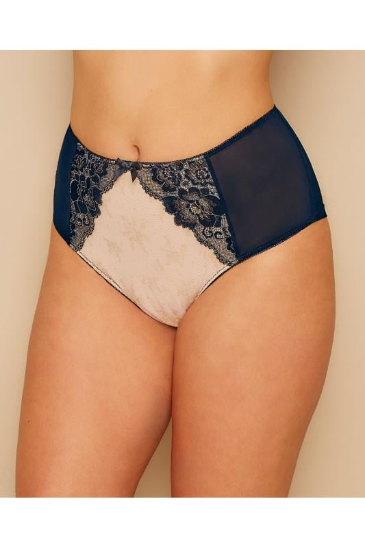 Nude & Navy Lace Illusion Briefs