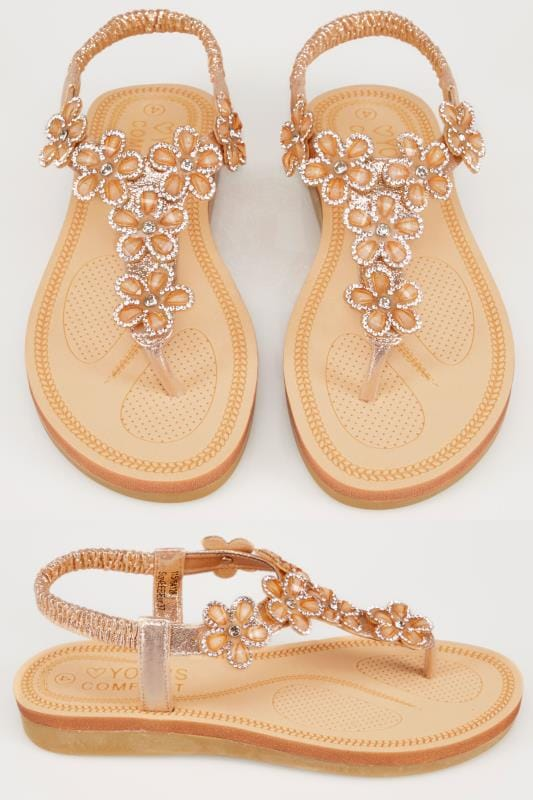 Wide Fit Sandals Bronze Open Toe Sandals With Embellished Floral Straps In TRUE EEE Fit