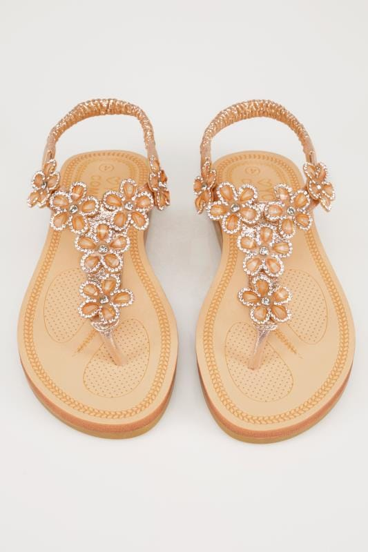Bronze Embellished Floral Sandals In EEE Fit