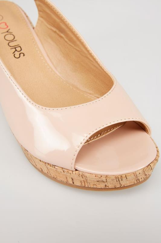 Nude Patent Peep Toe Cork Wedge Sandal In EEE Fit