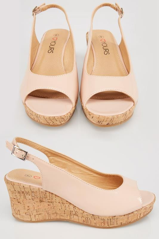 Wide Fit Sandals Nude Patent Peep Toe Cork Wedge Sandal In EEE Fit