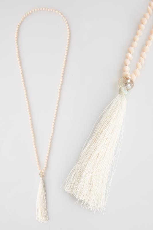 Nude Pink Beaded Necklace With Tassel Detail