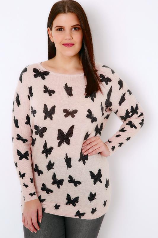 Nude Pink Embellished Butterfly Print Fine Knit Jumper