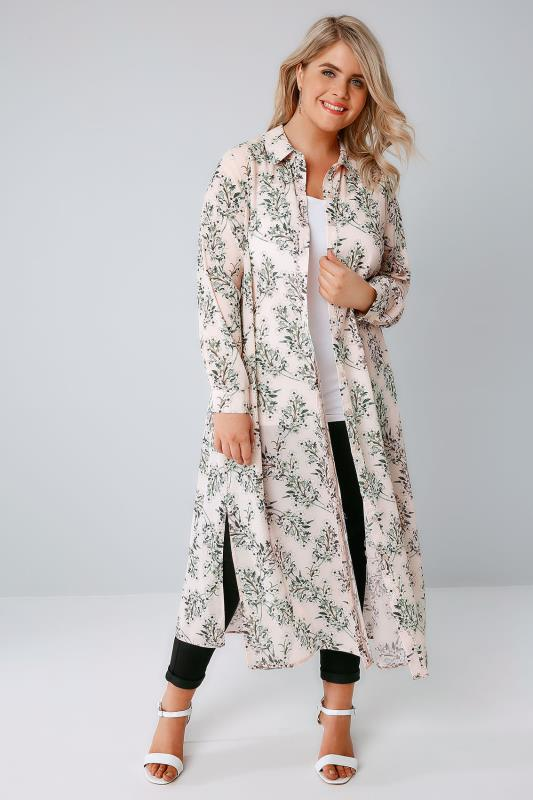 Nude Pink Floral Maxi Duster Shirt With Long Sleeves