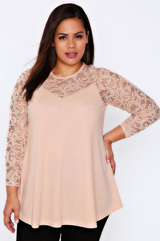 Nude Pink Jersey Peplum Top With Lace Yoke