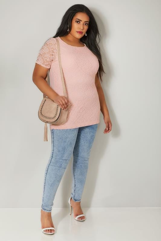 Nude Pink Lace Front Stretch Jersey Top With Scalloped Hem