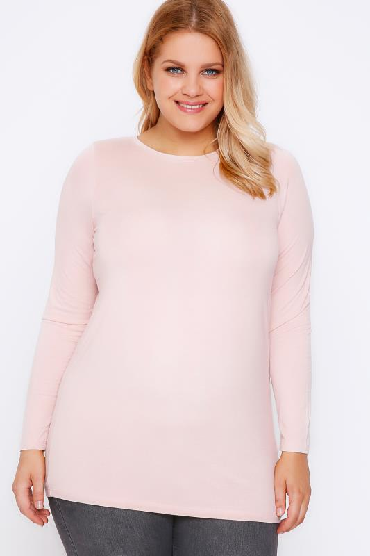 Jersey Tops YOURS LONDON Nude Pink Long Sleeve Soft Touch Jersey Top 102694