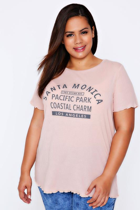 Nude Pink Ribbed Jersey Slogan Top With Frill Trims