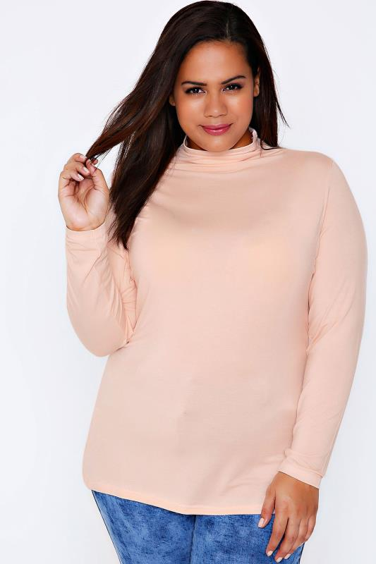 Day Tops YOURS LONDON Nude Pink Turtle Neck Long Sleeved Soft Touch Jersey Top 101670