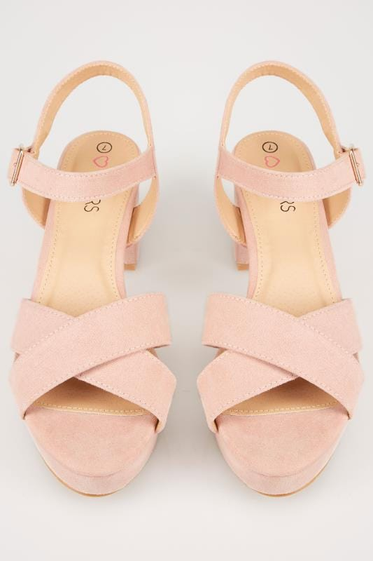 Nude Cross Front Heeled Platform Sandals In EEE Fit