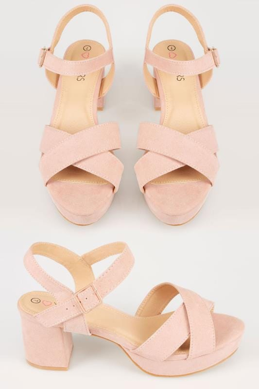 Wide Fit Heels Nude Platform Heeled Sandals With Cross Over Front In TRUE EEE Fit