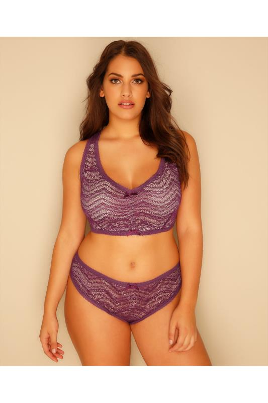 Nude & Purple All Over Lace Brief
