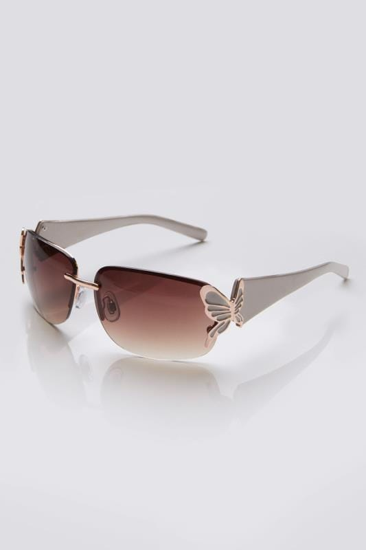 Nude & Rose Gold Rimless Sunglasses With Butterfly Detail & UV Protection