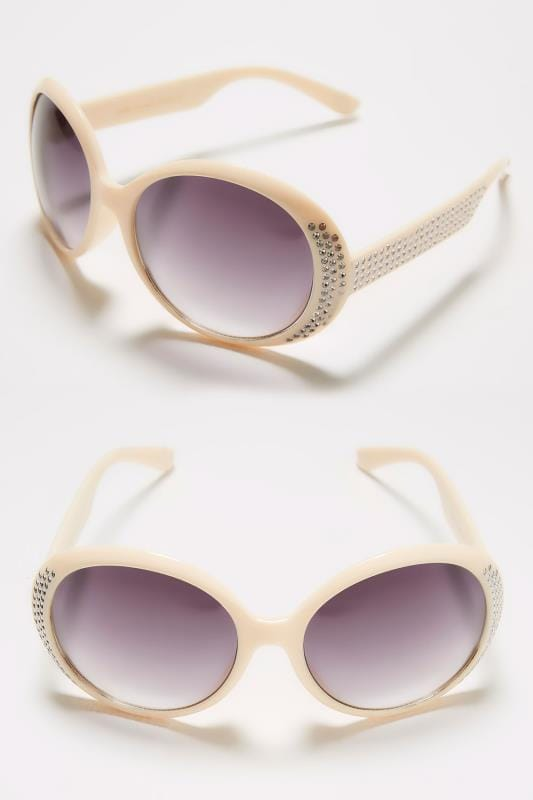 Nude Round Sunglasses With Diamante Detail & UV Protection