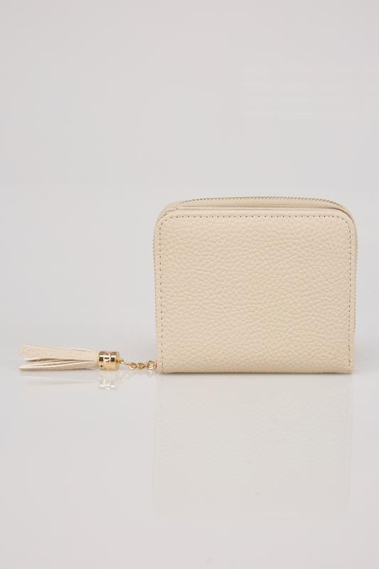 Nude Textured PU Zip Around Purse With Tab Pocket & Tassel