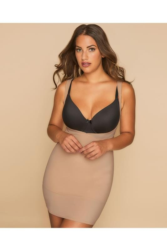 Plus Size Plus Size Shapewear Nude Underbra Smoothing Slip Dress With Firm Control
