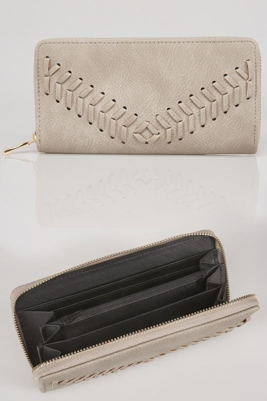 Nude Zip Around Purse With Herringbone Stitch Detail