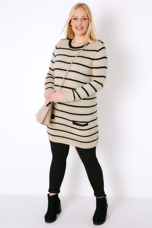 Oatmeal & Black Stripe Tunic Jumper Dress With Pockets