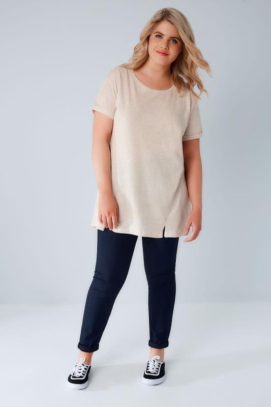 Oatmeal Boyfriend T-Shirt With Front Split Detail