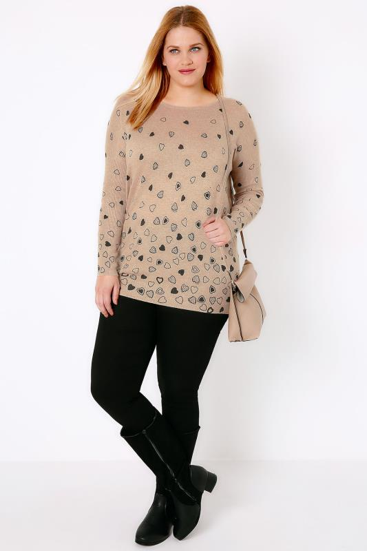 Oatmeal Brown Embellished Heart Print Knit Jumper