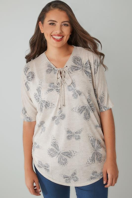 Oatmeal Butterfly Print Lace Up Neck Top With Ruched Sides