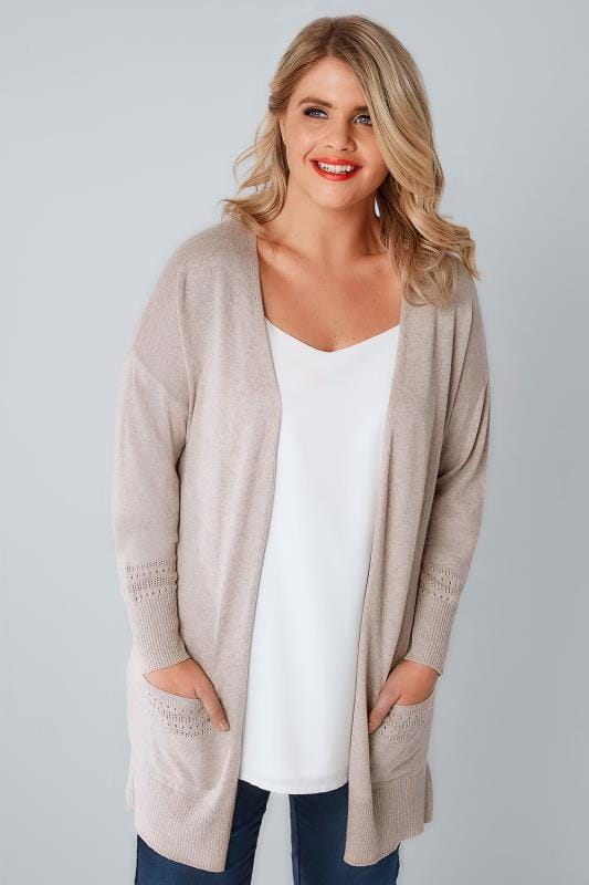 Oatmeal Longline Cardigan With Pointelle Pocket & Cuff Detail