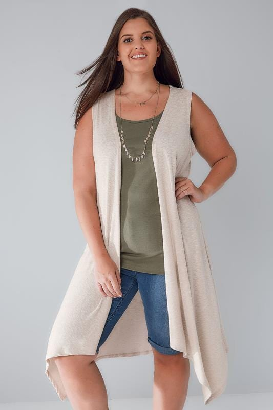 Shrugs Oatmeal Mix Sleeveless Longline Knitted Waistcoat Wrap 134078