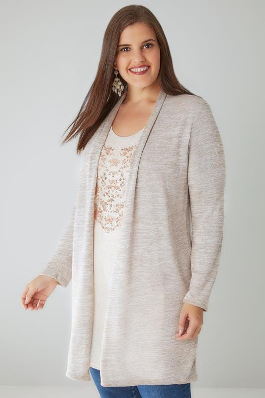 2 In 1 Tops Oatmeal & Rose Gold 2 In 1 Fine Knit Cardigan & Floral Print Top 132208