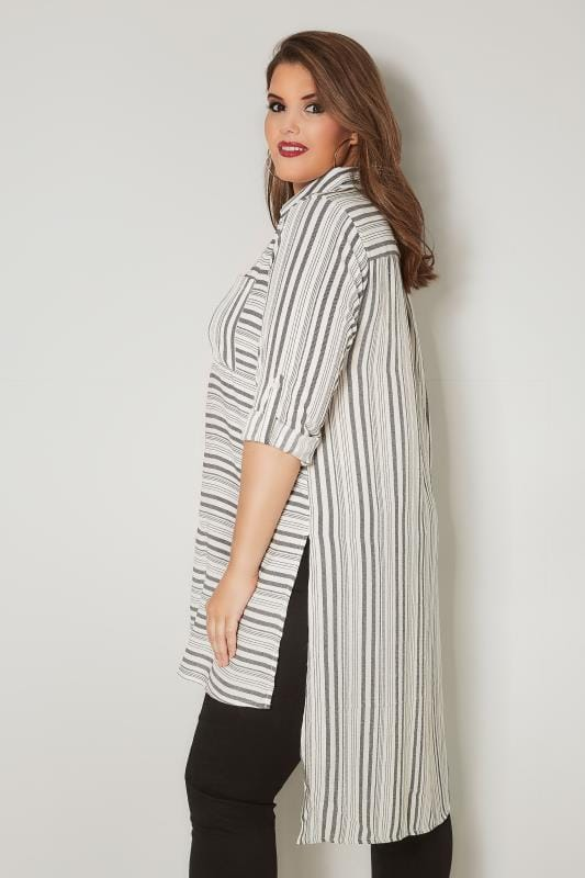 Off White & Grey Striped Longline Shirt With Dipped Hem