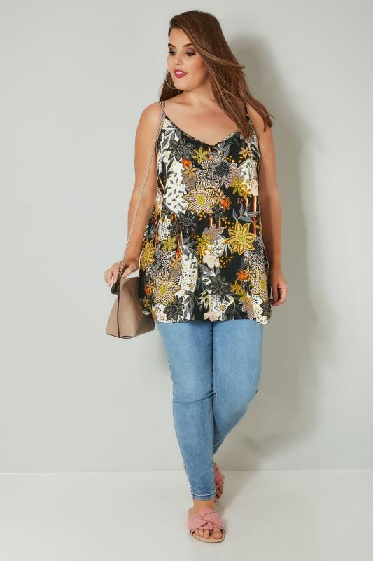 Off White & Multi Floral Print Woven Cami Top