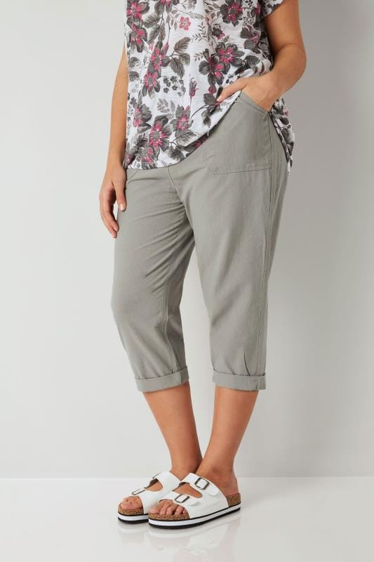 Olive Green Cool Cotton Cropped Trousers