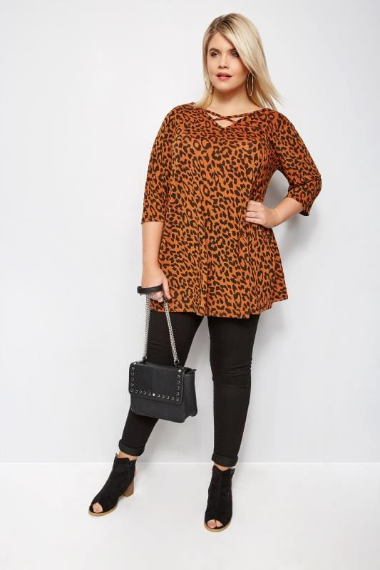 Orange Animal Print Cross Front Top