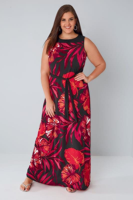 Orange & Black Sleeveless Floral Maxi Dress
