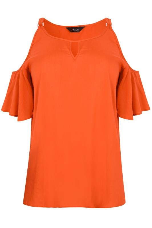 orange cold shoulder frill woven top