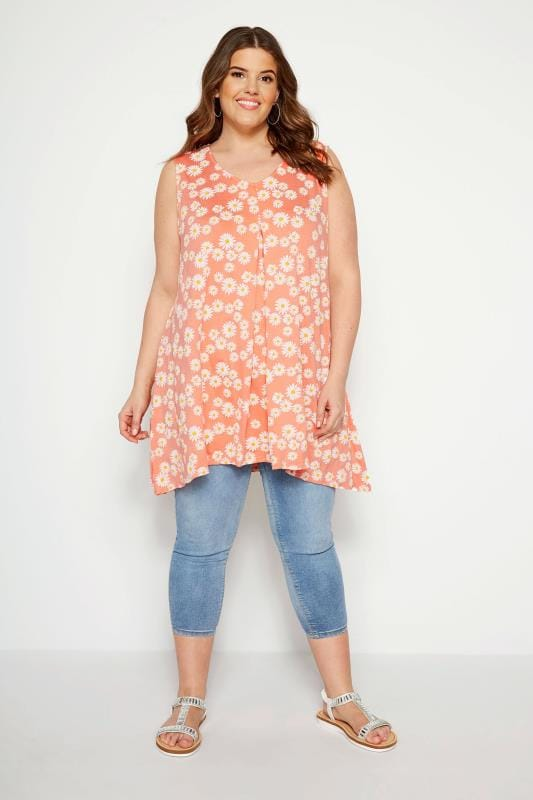 LIMITED COLLECTION Orange Daisy Swing Vest Top